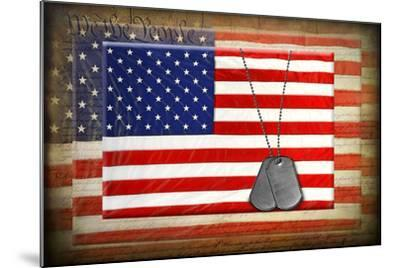 Military Dog Tags On American Flags-14ktgold-Mounted Art Print