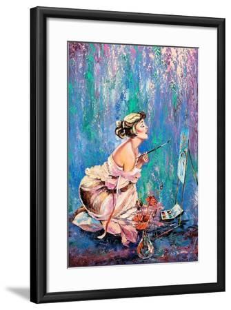 The Beautiful Girl Drawing A Picture-balaikin2009-Framed Art Print