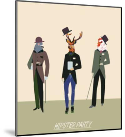 Vintage Hipsters Trendy Illustration-run4it-Mounted Art Print