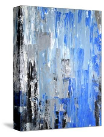 Blue And Grey Abstract Art Painting-T30Gallery-Stretched Canvas Print