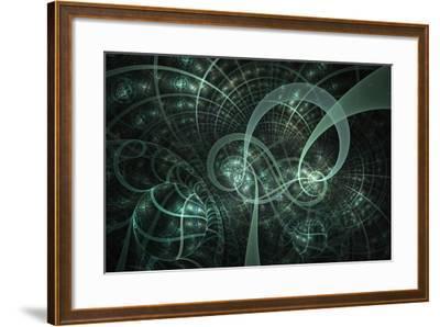 Blue Wheels Abstract Fractal Design- Algol2-Framed Art Print