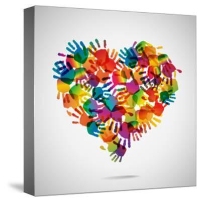 Colored Heart From Hand Print Icons-strejman-Stretched Canvas Print