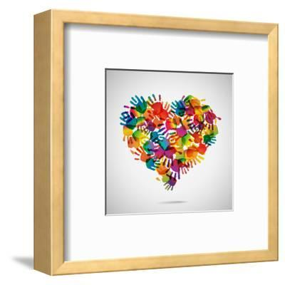 Colored Heart From Hand Print Icons-strejman-Framed Art Print