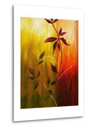 Oil Painting Of Fall Leaves-Acik-Metal Print