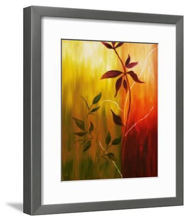 Oil Painting Of Fall Leaves-Acik-Framed Art Print