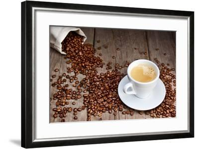 Coffee Cup With Beans-Valengilda-Framed Art Print
