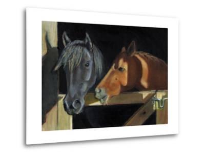 Two Horses At The Stall Gate-joylos-Metal Print