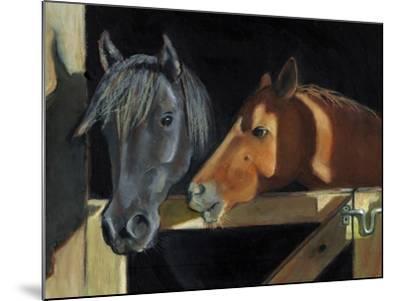 Two Horses At The Stall Gate-joylos-Mounted Art Print