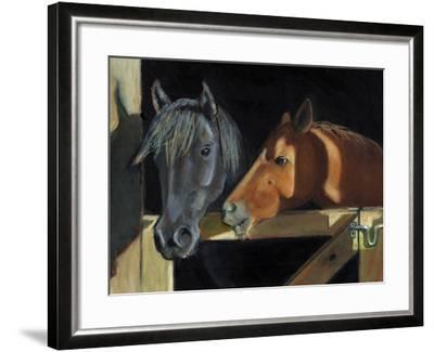 Two Horses At The Stall Gate-joylos-Framed Art Print