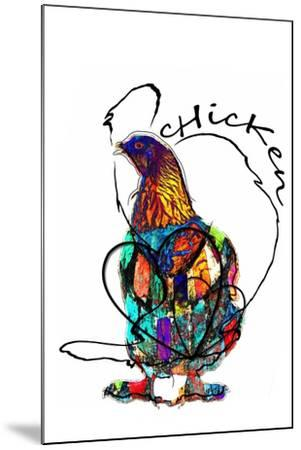 Funky Chicken Illustration- onesmallsquare-Mounted Art Print