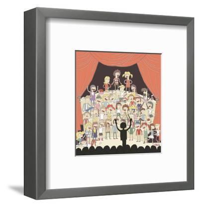 Funny School Choir Singing-vook-Framed Art Print