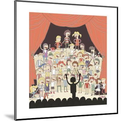 Funny School Choir Singing-vook-Mounted Art Print