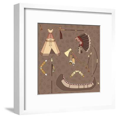 Seamless Indian Pattern-destra-Framed Art Print