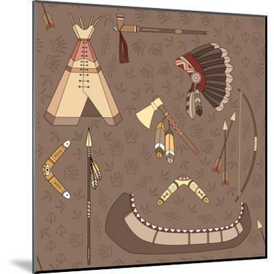 Seamless Indian Pattern-destra-Mounted Art Print