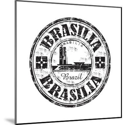 Brasilia Grunge Rubber Stamp-oxlock-Mounted Art Print