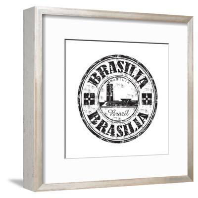 Brasilia Grunge Rubber Stamp-oxlock-Framed Art Print