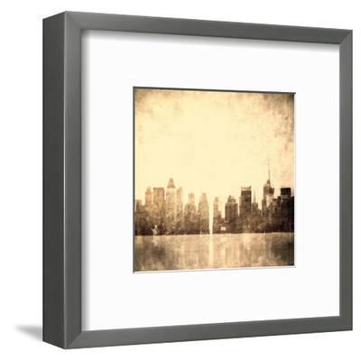 Grunge Image Of New York Skyline-javarman-Framed Art Print