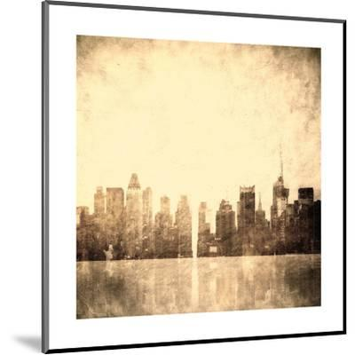 Grunge Image Of New York Skyline-javarman-Mounted Art Print