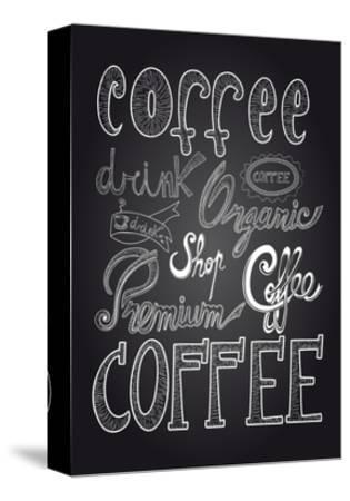 Coffee Chalkboard Illustration-cienpies-Stretched Canvas Print