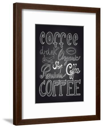 Coffee Chalkboard Illustration-cienpies-Framed Premium Giclee Print