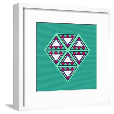 Geometric Diamond Composition-cienpies-Framed Art Print