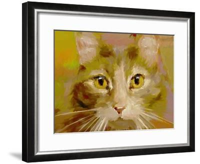 Orange Cat - Digital Oil Painting-anatomyofrockthe-Framed Art Print