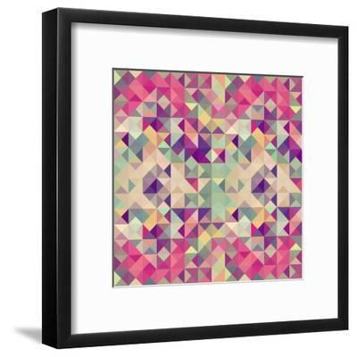 Pink Geometric Pattern-cienpies-Framed Art Print