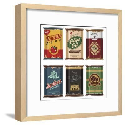 Retro Food Cans Collection-Lukeruk-Framed Art Print