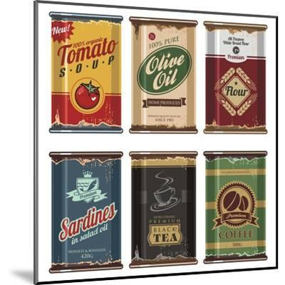 Retro Food Cans Collection-Lukeruk-Mounted Art Print