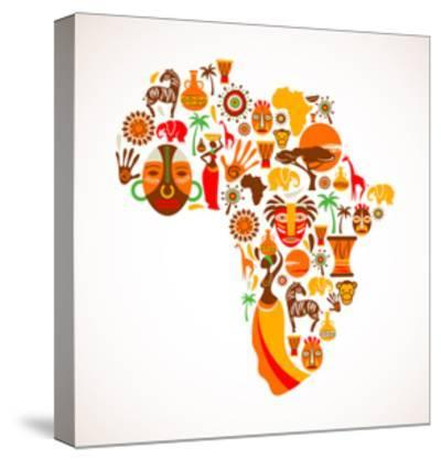 Map Of Africa With Icons-Marish-Stretched Canvas Print