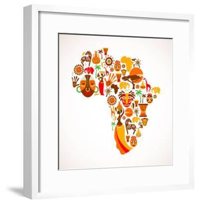 Map Of Africa With Icons-Marish-Framed Art Print