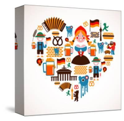 Heart Shape With Germany Icons-Marish-Stretched Canvas Print