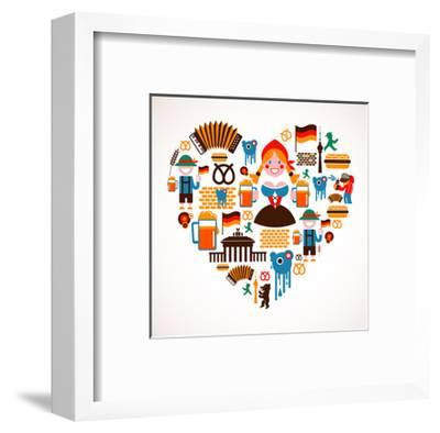 Heart Shape With Germany Icons-Marish-Framed Art Print