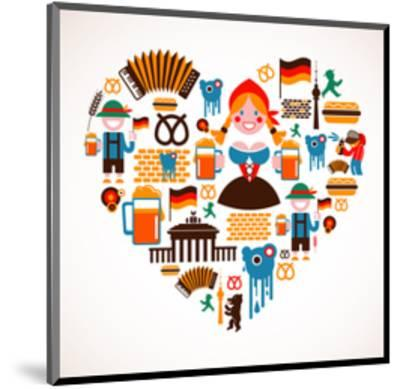 Heart Shape With Germany Icons-Marish-Mounted Art Print