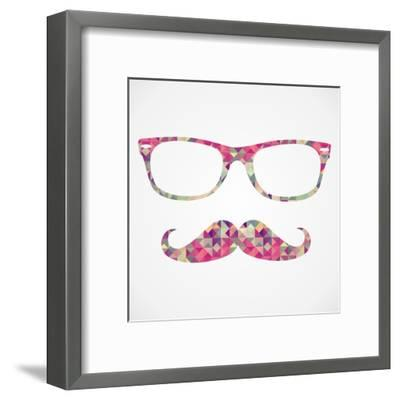 Retro Hipster Face Geometric Icons-cienpies-Framed Art Print