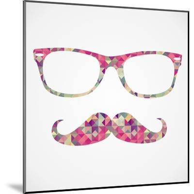 Retro Hipster Face Geometric Icons-cienpies-Mounted Art Print