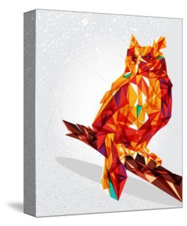 Geometric Owl Illustration-cienpies-Stretched Canvas Print
