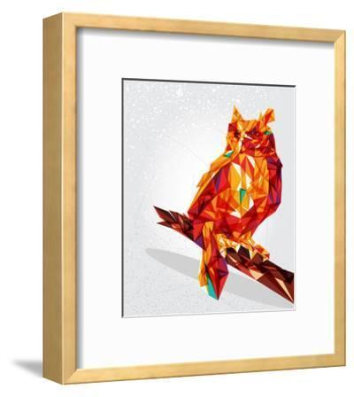 Geometric Owl Illustration-cienpies-Framed Art Print