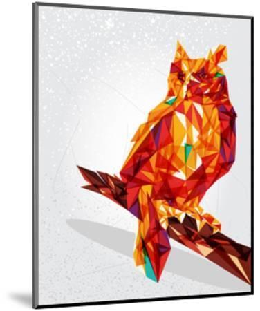 Geometric Owl Illustration-cienpies-Mounted Art Print
