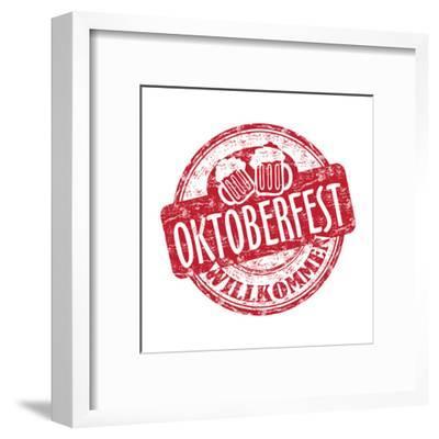 Oktoberfest Grunge Rubber Stamp-oxlock-Framed Art Print