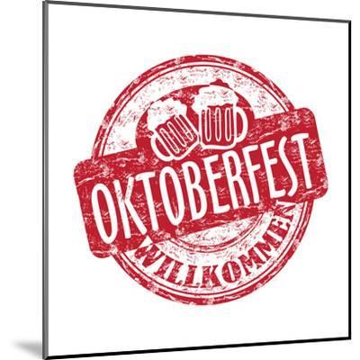 Oktoberfest Grunge Rubber Stamp-oxlock-Mounted Art Print