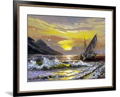 Sailing Boat In Waves On A Decline-balaikin2009-Framed Art Print