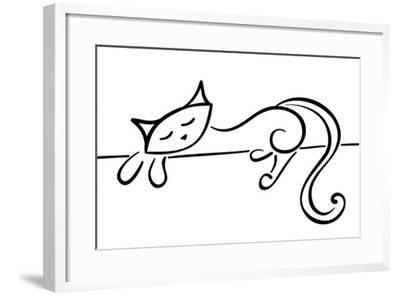 Silhouette Of A Lying Black Cat-Stellis-Framed Art Print