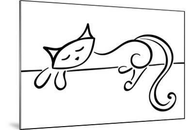 Silhouette Of A Lying Black Cat-Stellis-Mounted Art Print