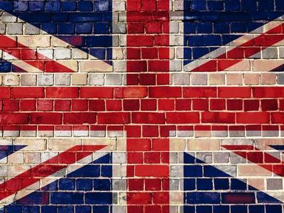 Uk Flag On A Brick Wall Background-Steve18-Framed Art Print