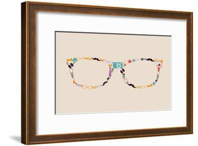 Vintage Hipster Icon Glasses-cienpies-Framed Art Print