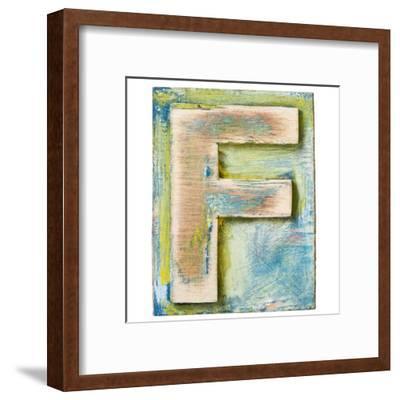 Wooden Alphabet Block, Letter F-donatas1205-Framed Art Print