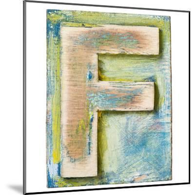 Wooden Alphabet Block, Letter F-donatas1205-Mounted Art Print