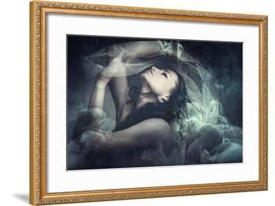 Fairy Like Fantasy Woman With Veil-coka-Framed Art Print