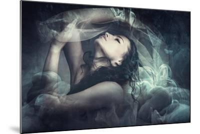 Fairy Like Fantasy Woman With Veil-coka-Mounted Art Print